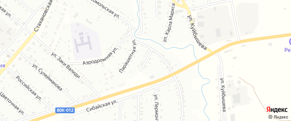 Парашютная улица на карте Баймака с номерами домов
