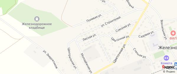 Лесная улица на карте села Железнодорожного с номерами домов