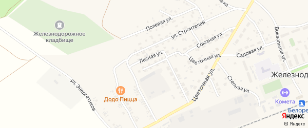 Пионерская улица на карте села Железнодорожного с номерами домов