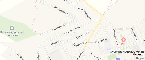 Улица Строителей на карте села Железнодорожного с номерами домов