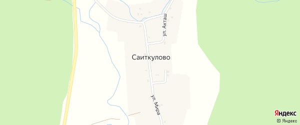 Улица Акташ на карте деревни Саиткулово с номерами домов