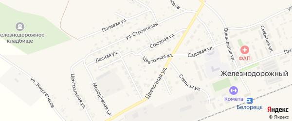 Цветочная улица на карте села Железнодорожного с номерами домов