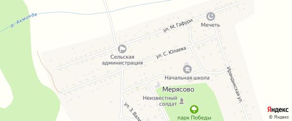 Улица С.Юлаева на карте села Мерясово с номерами домов