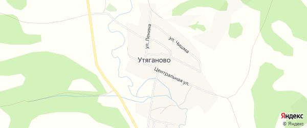 Карта деревни Утяганово в Башкортостане с улицами и номерами домов