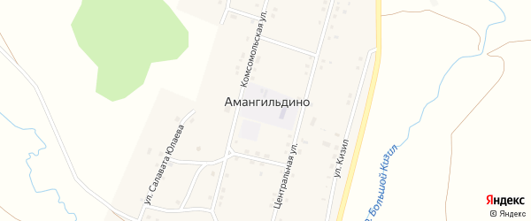 Улица Тайманышты на карте села Амангильдино с номерами домов