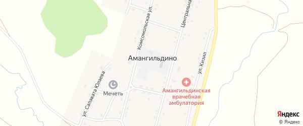 Центральная улица на карте села Амангильдино с номерами домов