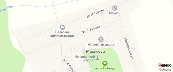 Улица Р.Уметбаева на карте села Мерясово с номерами домов