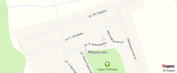 Улица З.Валиди на карте села Мерясово с номерами домов