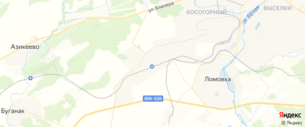 Карта Железнодорожного сельсовета республики Башкортостан с районами, улицами и номерами домов