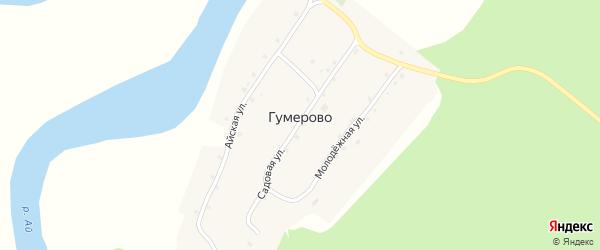 Молодежная улица на карте деревни Гумерово с номерами домов