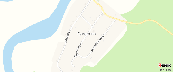 Садовая улица на карте деревни Гумерово с номерами домов