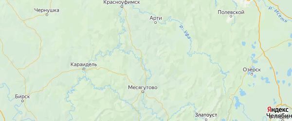 Карта Мечетлинского района республики Башкортостан с городами и населенными пунктами