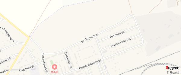 Улица Туристов на карте села Железнодорожного с номерами домов