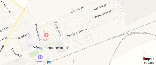 Профсоюзная улица на карте села Железнодорожного с номерами домов