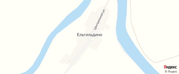 Центральная улица на карте деревни Ельгильдино с номерами домов