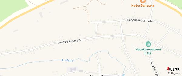 Центральная улица на карте села Насибаша с номерами домов