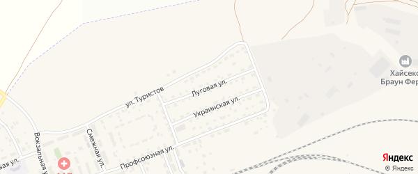 Луговая улица на карте села Железнодорожного с номерами домов