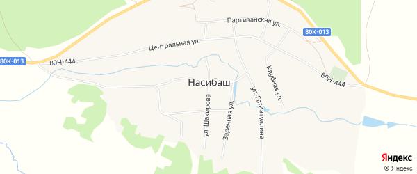 Карта села Насибаша в Башкортостане с улицами и номерами домов