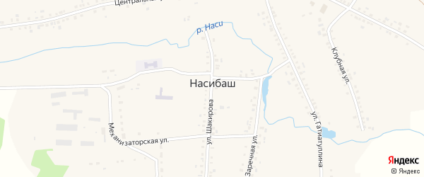 Улица Шакирова на карте села Насибаша с номерами домов