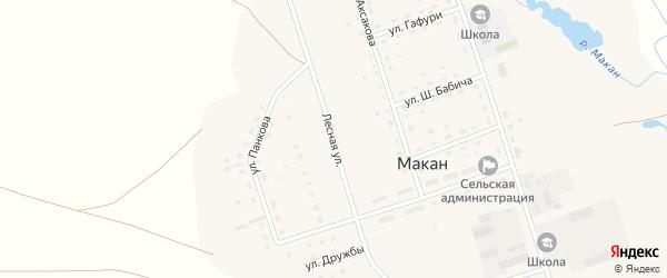 Лесная улица на карте села Макана с номерами домов