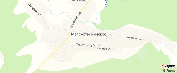 Карта Малоустьикинского села в Башкортостане с улицами и номерами домов
