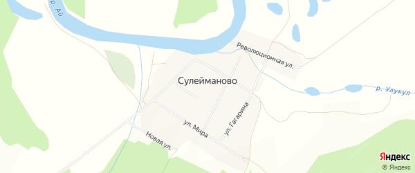 Карта деревни Сулейманово в Башкортостане с улицами и номерами домов