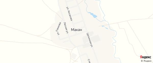 Карта села Макана в Башкортостане с улицами и номерами домов