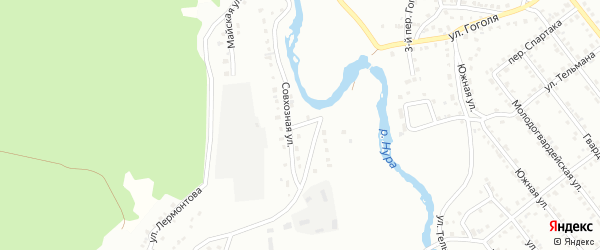 Совхозная улица на карте Белорецка с номерами домов