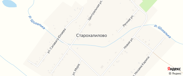 Речная улица на карте села Старохалилово с номерами домов