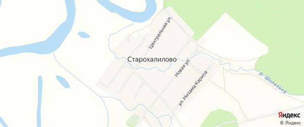 Карта села Старохалилово в Башкортостане с улицами и номерами домов