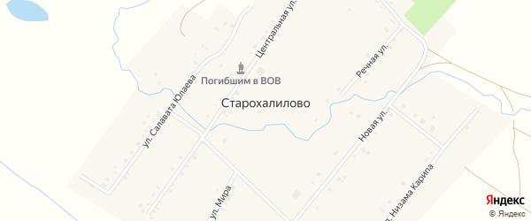 Новая улица на карте села Старохалилово с номерами домов