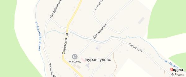 Школьная улица на карте села Бурангулово с номерами домов