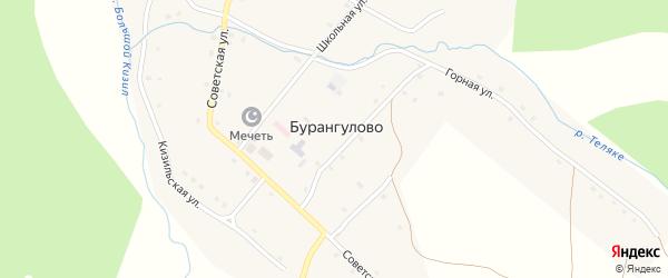 Улица Мустафы Сальманова на карте села Бурангулово с номерами домов