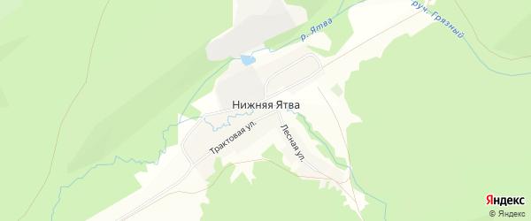 Карта села Нижняя Ятва (Сланцы) в Башкортостане с улицами и номерами домов