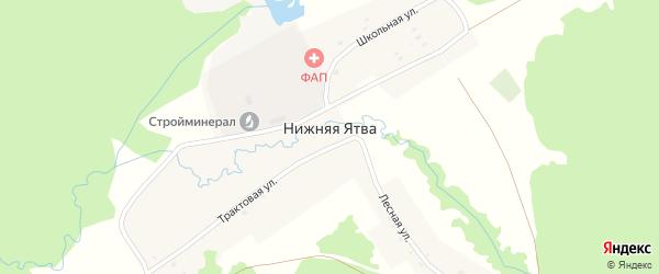 Трактовая улица на карте села Нижняя Ятва (Сланцы) с номерами домов
