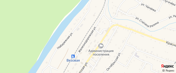 Железнодорожная улица на карте поселка Вязовой с номерами домов