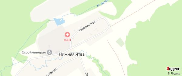 Школьная улица на карте села Нижняя Ятва (Сланцы) с номерами домов
