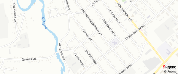 Южная улица на карте Белорецка с номерами домов