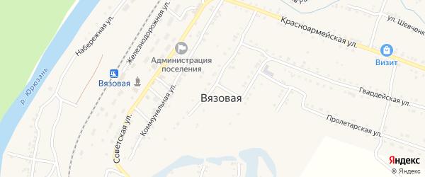 Октябрьская улица на карте поселка Вязовой с номерами домов