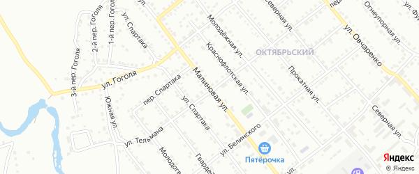 Малиновая улица на карте Белорецка с номерами домов