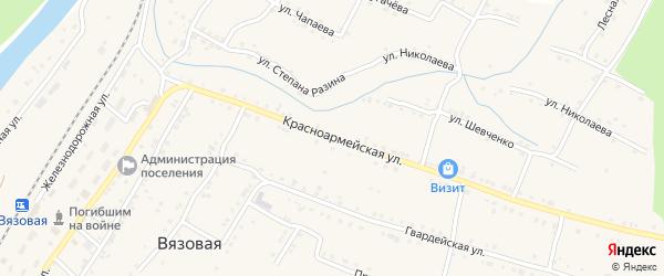 Красноармейская улица на карте поселка Вязовой с номерами домов