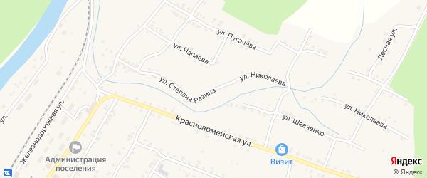 Улица Степана Разина на карте поселка Вязовой с номерами домов