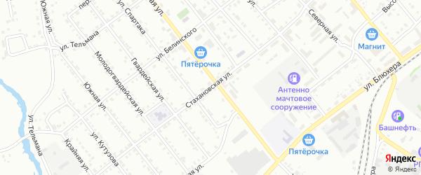 Стахановская улица на карте Белорецка с номерами домов