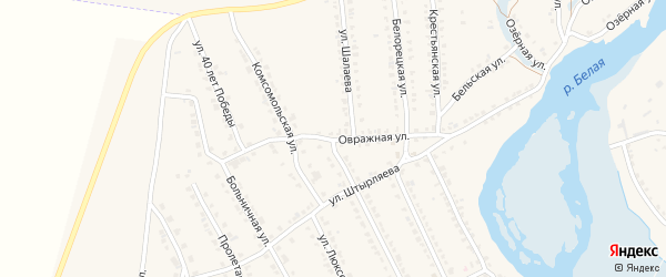 Овражная улица на карте села Ломовка с номерами домов