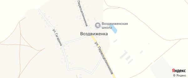 Улица Первоцелинников на карте деревни Воздвиженки с номерами домов