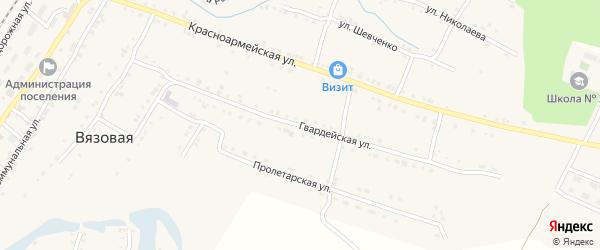 Гвардейская улица на карте поселка Вязовой с номерами домов