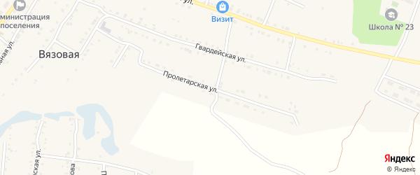 Пролетарская улица на карте поселка Вязовой с номерами домов