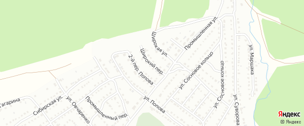 Широкий переулок на карте Белорецка с номерами домов