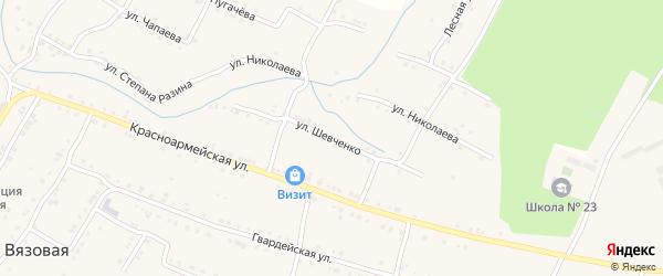 Улица Шевченко на карте поселка Вязовой с номерами домов
