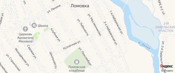 Кузнечная улица на карте села Ломовка с номерами домов